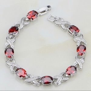 Sterling Silver oval Red Ruby White Topaz Bracelet